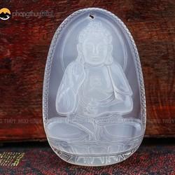 Dây chuyền Phật A Di Đà mã não trắng dành cho người tuổi Tuất-Hợi