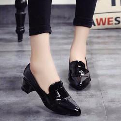 Giày gót vuông nữ da bóng cao cấp - LN1165