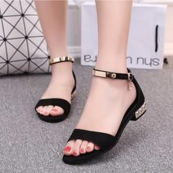 Giày sandal nữ quai vàng đế đính đá - LN1172