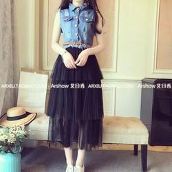 đầm giả Set áo Jean chân váy lưới tầng