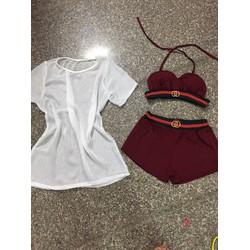 Set bộ bikini kèm áo ngoài sành điệu LOA22