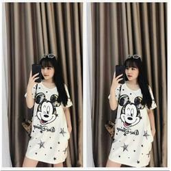 Đầm suông trắng chuột Mickey