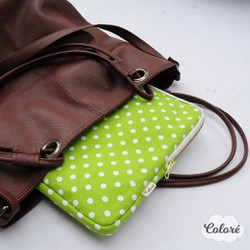 Túi laptop 13 inch xanh lá chấm bi trắng