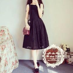 Đầm ren Thái form dài màu đen