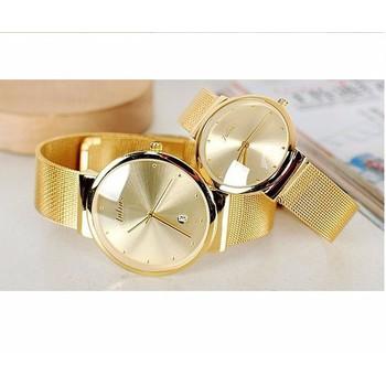 Đồng hồ đôi JULIUS 1052 vàng siêu mỏng thép không gỉ