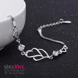 Lắc tay trái tim đính đá gắn bó dài lâu thời trang xinh xắn SPB-S004