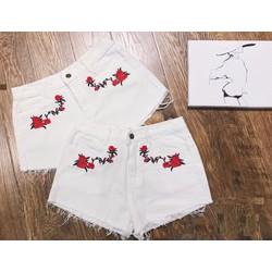 Quần sooc jean trắng thêu hoa co giãn TH31