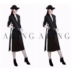 Đầm suông viền trắng đen cao cấp
