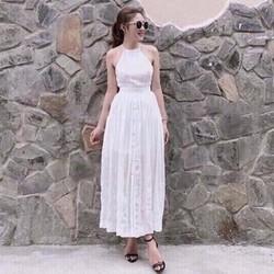 Đầm Maxi Cổ Yếm Cài Nút Chân Váy