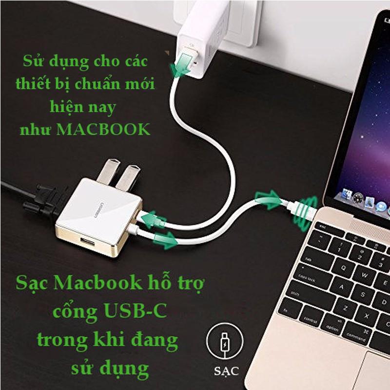 Cáp chuyển đổi USB Type C to VGA + Hub  Ugreen 30442 5