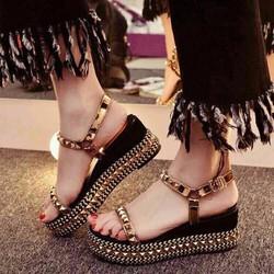 Giày sandal đế xuồng nữ đinh tán cao cấp - LN1180