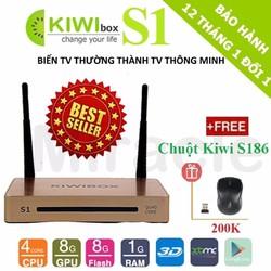 Android Tivi Box Kiwi S1 + Tặng Chuột Kiwi S186 trị giá 200K