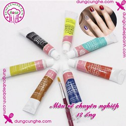 Màu vẽ nail chuyên nghiệp 12 ống 6ml Lot Nail Art Paint Acrylic
