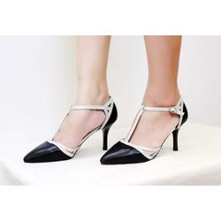 Giày cao gót ánh bạc 7cm
