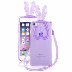 Ốp lưng Tai thỏ đáng yêu kiêm giá đỡ iPhone 6 Plus case Tặng dây đeo