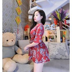 Jumpsuit short hoa cánh dơi phối ren _MỎ CHU SHOP