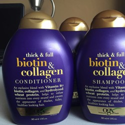 Bộ dầu gội và Xả Ogx Biotin Collagen dành cho tóc mỏng và rụng