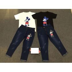 Set áo phông và quần jean in hình micky