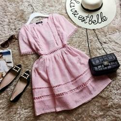 Đầm xòe ren tay ngắn hàng quảng châu hồng