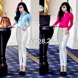 Quần jean trắng lưng cao 4 nút giống bella QNU17