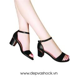 Giày Sandal gót vuông màu đen