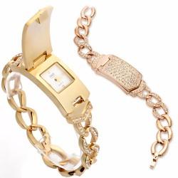 Đồng hồ bật nắp nữ như lắc tay 2in1  sang chảnh cho bạn dự dạ tiệc-205
