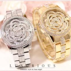 Đồng hồ nữ kim loại thiết kế mặt hoa hồng đường công tuyệt đẹp-191