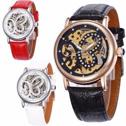 Đồng hồ nữ lộ cơ cá tính phối dây da cho bạn gái thích mạnh mẽ -192