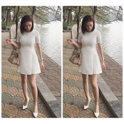 Đầm xòe chữ A xếp ly đính nút Angela Phương Trinh
