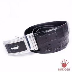 Thắt lưng nam da cá sấu nối gai 4cm màu đen cao cấp Hadosa