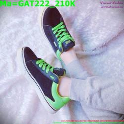 Giày thể thao nam cổ thấp màu đen, dây xanh lá GAT222