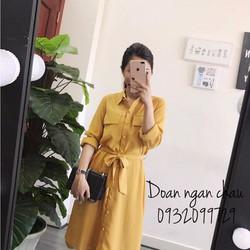 Đầm sơmi cột eo