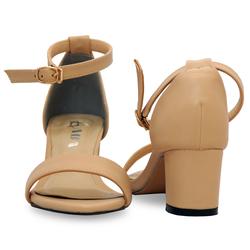 Giày Sandal Cao Gót ADA Hở Mũi Quai Cài Ngang Đế Vuông Màu Nude