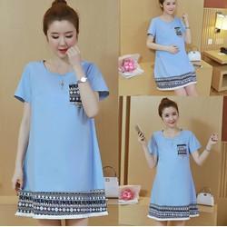 Đầm dáng suông viền họa tiết thổ cẩm xinh xắn - hàng nhập Quảng Châu