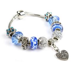 Vòng pand trái tim- đá màu xanh