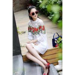 Đầm suông cổ lọ in hoa 3D phối ren cực hot - DKN2973