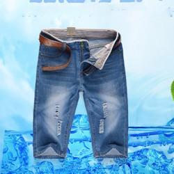 Quần short jeans nam mài rách-QS9