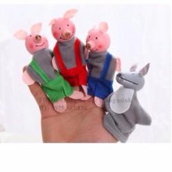 Bộ rối xỏ ngón 3 chú lợn con và chó sói đồ chơi giáo dục