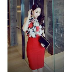 Set áo hoa cột nơ chân váy đỏ siêu cute