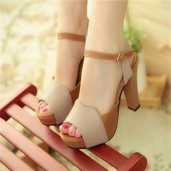 Giày cao cấp-giày cao gót màu da bò phối kem
