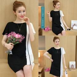 Đầm dáng suông phối màu thời trang - hàng nhập Quảng Châu
