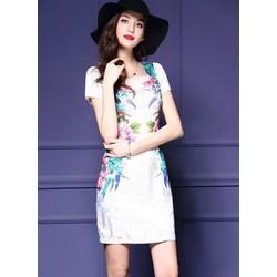 Đầm Gấm Hoa Đính Đá TT114