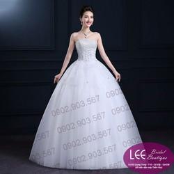 Áo cưới xòe đính hoa 3D - T151004