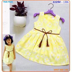 Đầm hoa cúc phối nịt bím xinh xắn cho bé ngày hè