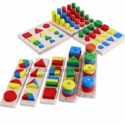 Set 8 món đồ chơi gỗ học về cảm quan cho bé đồ chơi giáo dục