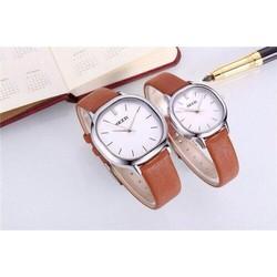 Đồng hồ đôi KEZZI dây da - 3 MÀU đen nâu trắng
