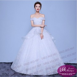Áo cưới ren trễ vai - T160907