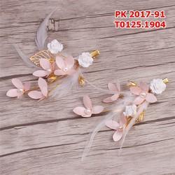 Bộ cặp cài tóc cô dâu  hoa hồng lông vũ hạt trai