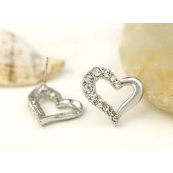 Bộ dây chuyền + khuyên tai nữ thời trang, họa tiết trái tim đính đá