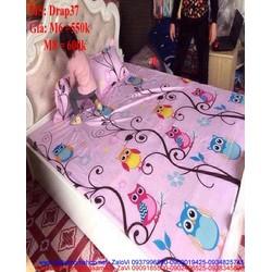Bộ dra giường hình cú mèo màu hồng nhạt dễ thương Drap37